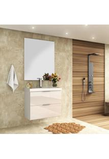 Gabinete Banheiro Suspenso Branco Brilho Mdf 80Cm Lilies - Branco - Dafiti