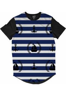 Camiseta Longline Long Beach Náutica Vela E Âncora Sublimada Azul