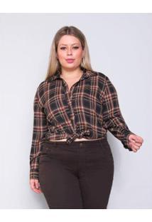 Camisa Plus Size Palank Alto Astral Feminina - Feminino-Preto