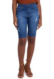 Bermuda Jeans Puída Azul - Feminino-Azul