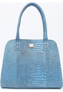 Bolsa Em Couro Texturizada- Azul Claro- 26X33X16Cm