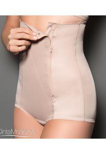 Cinta Calça Modeladora Com Zíper Cetinete Moderna Estética (537) Tecido Duplo, Nude, Pp