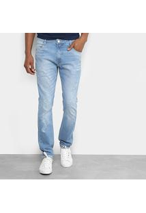 Calça Jeans Skinny Dimy Com Puídos Masculina - Masculino-Jeans