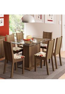Conjunto Sala De Jantar Madesa Gales Mesa Tampo De Vidro Com 6 Cadeiras Marrom - Tricae