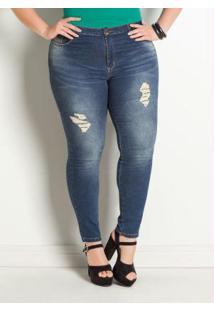 Calça Jeans Sawary Cigarrete Plus Size Azul