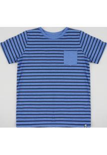 Camiseta Infantil Listrada Com Bolso Manga Curta Gola Azul