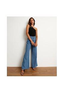 Calça Wide Pantalona Jeans Estampada Ondas Cintura Super Alta