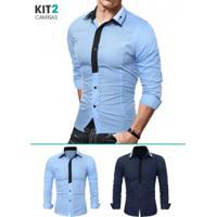 0ef2d4db458 Kit 2 Camisas Sociais Masculina Slim Fit Manga Longa - Azul Marinho E Azul  Claro