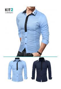 Kit 2 Camisas Sociais Masculina Slim Fit Manga Longa - Azul Marinho E Azul Claro
