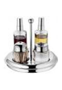 Galheteiro Em Vidro E Aço Inox Com Alça 5 Peças Porta Condimentos Cozinha Spray Forma Inox