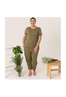 Calça Reta Lisa Em Moletinho Comfy Curve & Plus Size Verde
