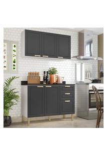 Cozinha Completa 3 Peças Americana Multimóveis 5922 Branco/Grafite