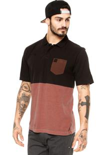Camisa Polo Manga Curta Hang Loose Colorblock Preta/Marrom