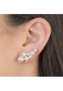 Brinco Ear Cuff Com Pérolas Banhado Em Ouro 18K