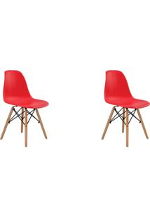 Kit 02 Cadeiras Eiffel S/ Braço Vermelha Rivatti