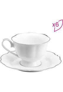 Jogo De Xícaras Para Chá Com Pires- Branco & Prata- Rojemac