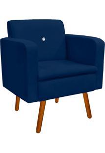 Poltrona Decorativa EmãLia Suede Azul Marinho Com Strass - D'Rossi - Azul Marinho - Dafiti
