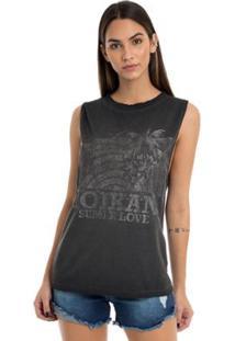 T-Shirt Moikana Estampa Com Glitter - Feminino-Preto