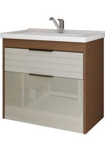 Gabinete De Banheiro Azaleia 1 Pt 1 Gv Amêndoa E Off White 59 Cm
