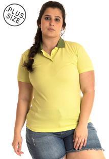 Camisa Polo Konciny Plus Size Verde Limáo - Tricae