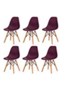Kit 6 Cadeiras Eiffel Eames Roxa Base Madeira Sala Cozinha Jantar