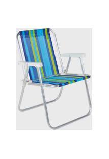 Cadeira De Praia Alta Em Aluminio Belfix Sortida Azul/Verde