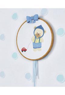 Quadro Bastidor Bordado Ursinho Bebê Grão De Gente Azul