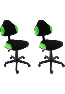 Conjunto 2 Cadeiras De Escritório Secretária Giratória Verona Verde Claro
