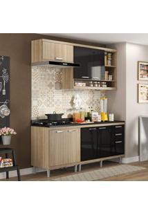 Cozinha Completa Com Balcão Com Tampo 5 Peças 7 Portas Sicília Multimóveis Argila/Preto