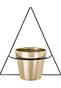 Vaso Com Suporte Para Parede- Preto & Dourado- 32,5Xmart