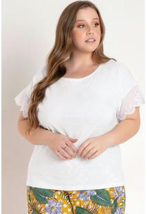 Blusa Branca Com Mangas Em Laise Plus Size