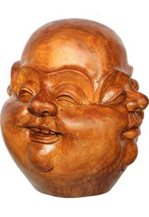 Escultura Faces De Buda Em Madeira - Bali