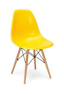 Cadeira Eiffel Charles Eames Amarela F01 Com Base De Madeira Dsw - Mpo