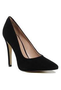 Sapato Scarpin Feminino Zariff Bico Fino Camurça Preto Incolor