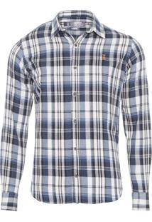 Camisa Masculina Xadrez Madras - Azul
