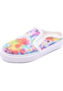 Slip On Mule Shoes Grand Tie Dye Colors Com Couro Branco - Kanui