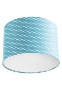 Lustre Plafon Cupula Dome 30X20Cm Azul Com Bolinha
