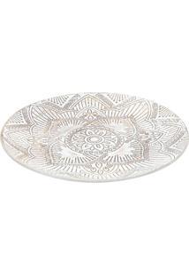 Bandeja Decorativa Mandala Bege E Branca 3X34,5X34,5