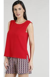 Regata Feminina Com Recortes Decote Redondo Vermelha