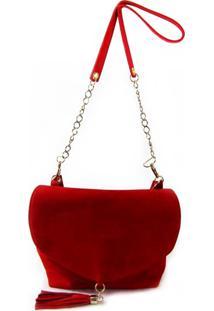 Bolsa Transversal Em Camurça Vermelha Com Pingente Maria Adna