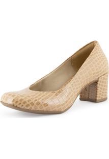 Sapato Scarpin Feminino Casual Salto Grosso Mã©Dio - Bege - Feminino - Dafiti