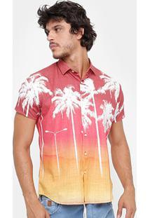 Camisa Reserva Regular Tropical Masculina - Masculino-Coral