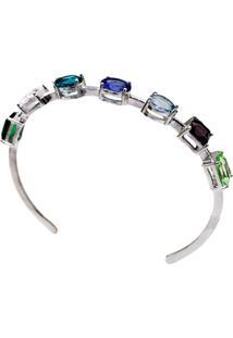 Bracelete Show De Pedras Coloridas Lapidadas Em Prata 925