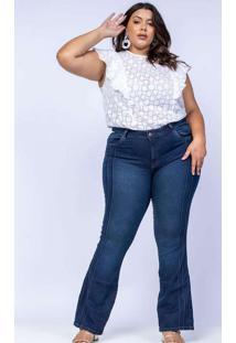 Calça Flare Almaria Plus Size Shyros Jeans Azul