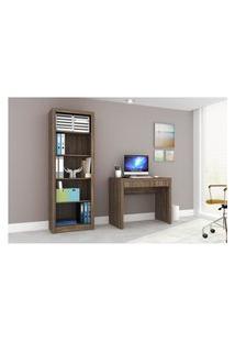 Conjunto Home Office Cb03 Com Escrivaninha E Armário Alto 4 Prateleiras Nogal Casa Da Mobília