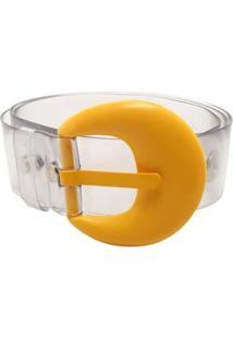 Cinto Birô Cristal Fivela Color Feminino - Feminino-Amarelo