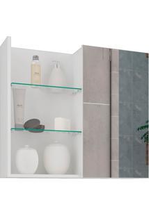 Espelheira Suspensa Para Banheiro Jasmim 54X60Cm Branco