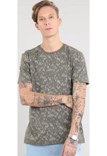 Camiseta Masculina Estampada De Árvores Manga Curta Gola Careca Verde Militar