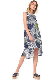 Vestido Desigual Midi Iowas Branco/Azul-Marinho - Kanui