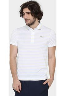Camiseta Polo Lacoste-Dh5751-21 - Masculino-Branco+Amarelo